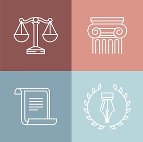 Vector Image with various concepts in Law